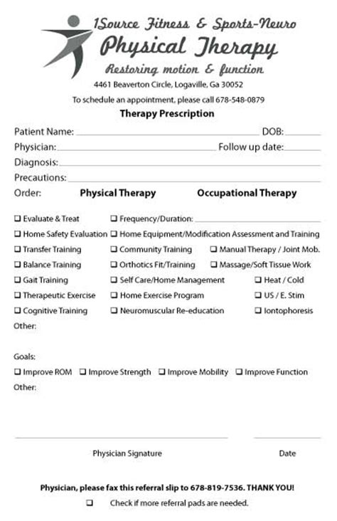 Physiotherapy Receipt Template by Referral Pad Sles By Specialty Forms