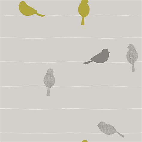 grey wallpaper yellow birds buy john lewis bird on a wire wallpaper smoke john lewis