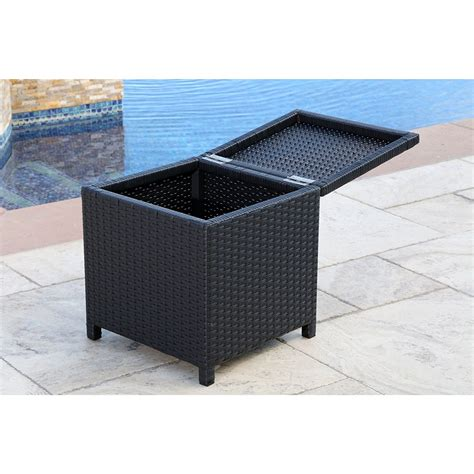 wicker bench storage abbyson living newport outdoor black wicker storage bench