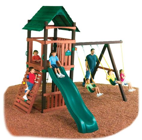 slide and swing sets cimarron swing set swing n slide wooden swing set kit