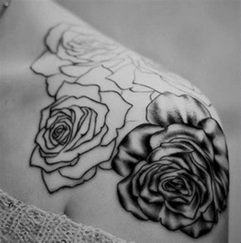 love rose tattoos on shoulder black and white tattoos
