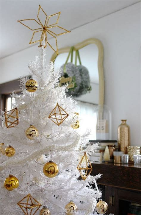 white christmas tree with gold himmeli ornaments