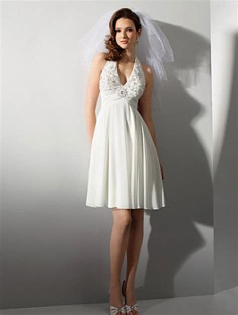 looking amazing with short halter wedding dress wedwebtalks