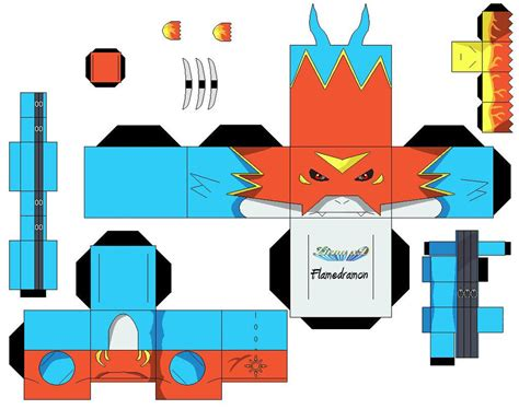 Digimon Digivice Papercraft - flamedramon dificil 1 by zienaxd on deviantart