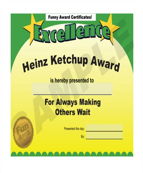 funny certificates template free funny award certificates