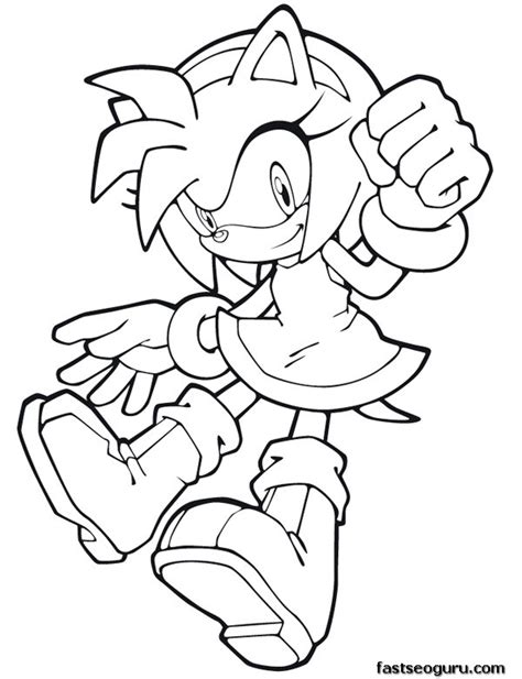 sonic amy coloring pages printable coloring pages