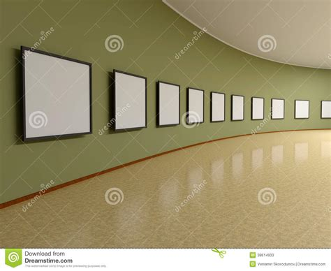 yellow background wall rendering for painting exhibition hall frame on the wall of the exhibit stock photos image