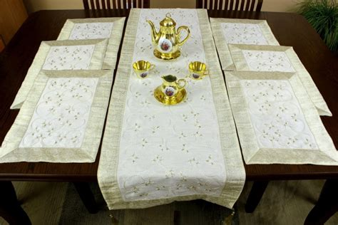 table runner with placemats embroidered 7 placemat table runner set