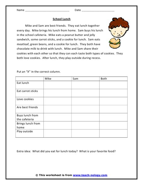 Critical Thinking Worksheets school lunch comparisons