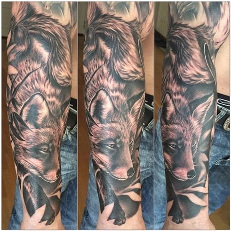 black and grey fox tattoo realistic fox black and grey by yarda tattoos