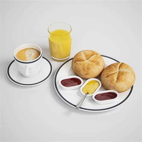 Bantal Snack Bantal Model Snack 3d continental breakfast model