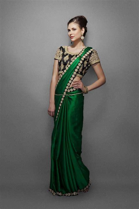 emerald green sari with border heavy blouse south asian fashion insipiration