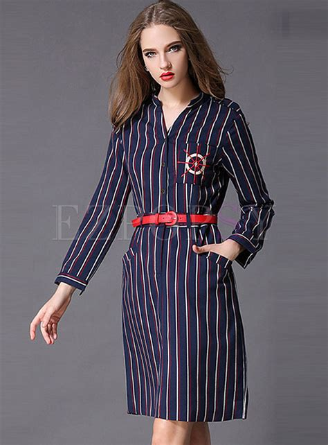 V Neck Stripe Sleeve Dress sleeve v neck fashion stripe dress ezpopsy