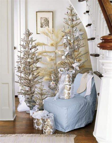 multiple trees in cream and silver vintage christmas