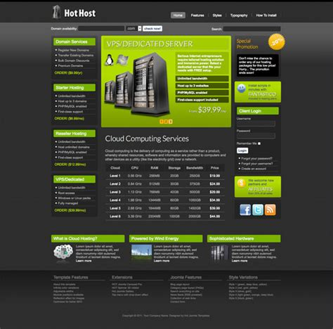 web hosting template joomla hosting template host hotthemes