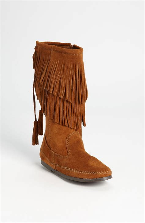 fringe boot minnetonka two layer fringed boot in brown lyst