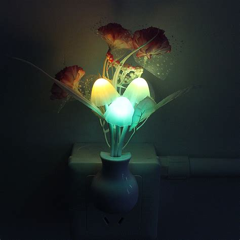 romantic mushroom flower plant light sensor hot sale led
