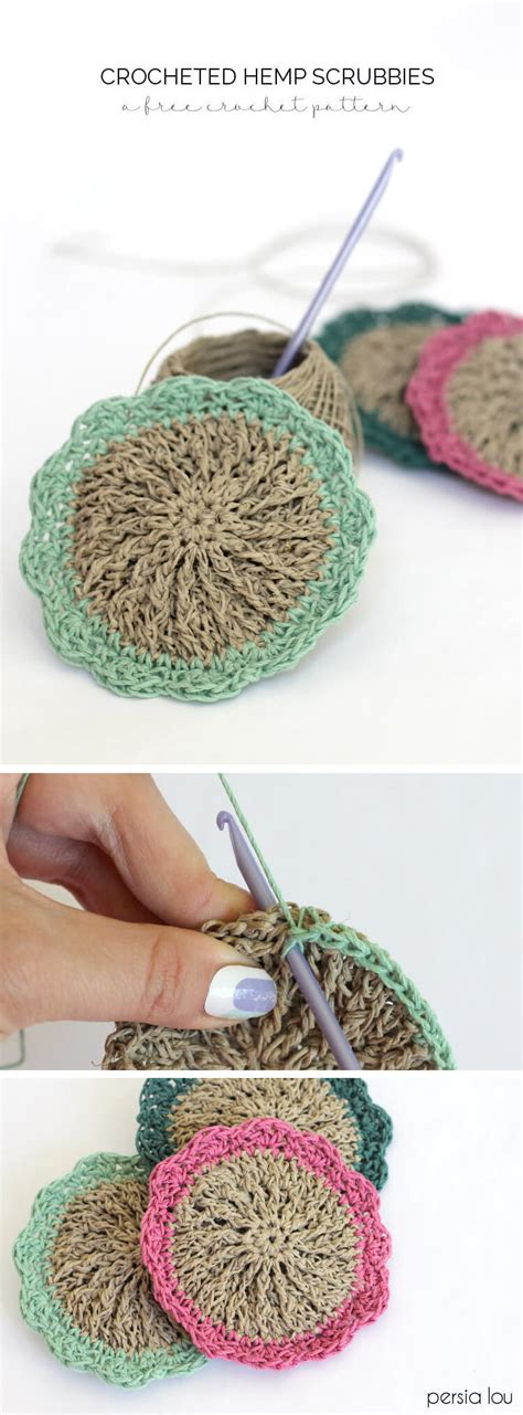 Hemp Stitches - crocheted hemp scrubbies free pattern lou