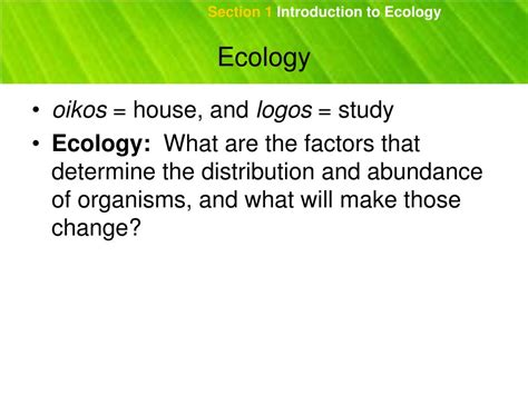 section 18 1 review introduction to ecology ppt chapter 18 sections 1 and 2 powerpoint presentation