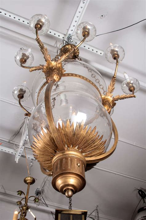 Bell Jar Chandelier Oversized Bronze And Glass Bell Jar Chandelier From The Plaza Hotel For Sale At 1stdibs