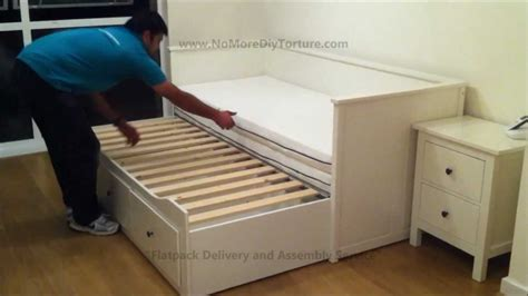 Trundle Bed Ikea | ikea hemnes day trundle bed with 3 drawers white youtube