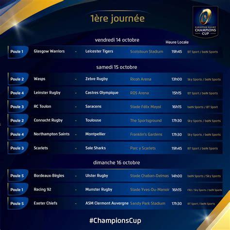 Calendrier Ligue Des Chions Demi Finale 2016 Rugby Chions Cup Le Calendrier De La Comp 233 Tition
