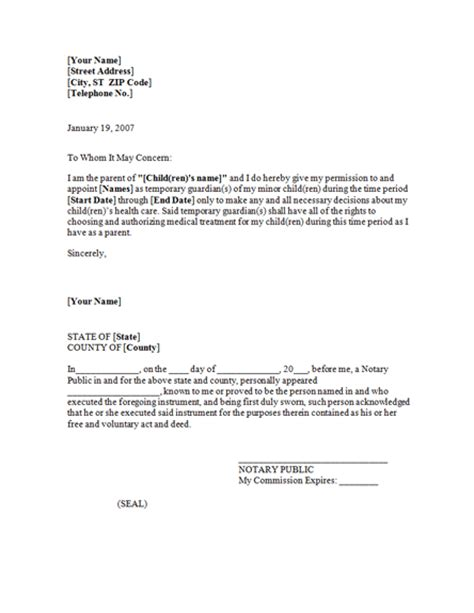 letter of power of attorney template free power of attorney letter for the child care with