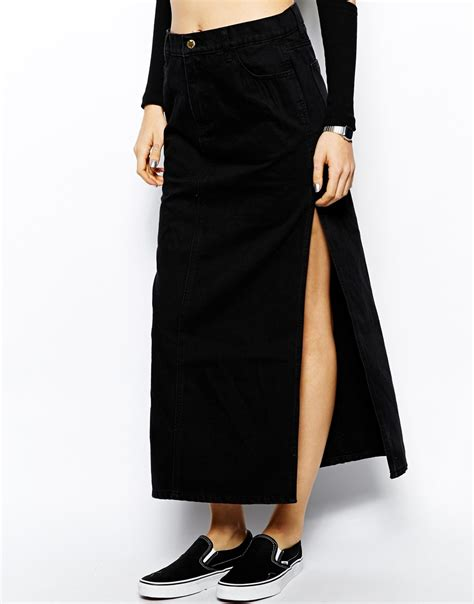 cheap monday denim maxi skirt in black lyst