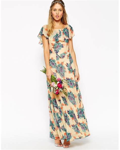 Maxy N Jumbo Dress asos wedding maxi dress with frill detail in pretty floral