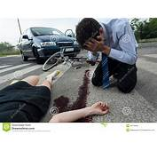 Driver And Injured Woman At Road Accident Scene Stock