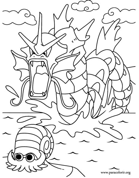 pokemon coloring pages gyarados pok 233 mon gyarados and omanyte coloring page