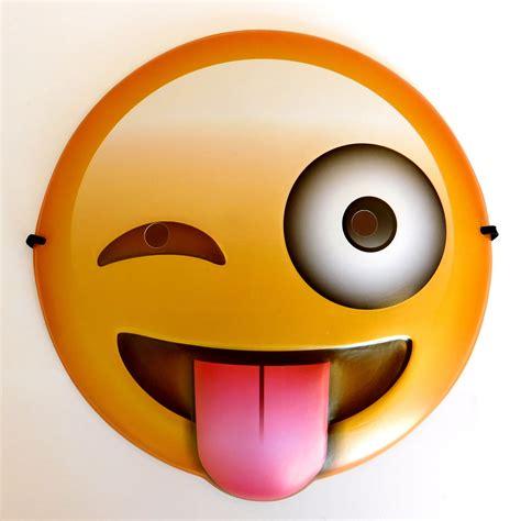 emoji videos tongue out emoji mask smiley smile face party novelty