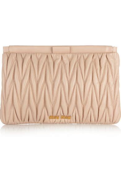 Miu Mius Leather Plisse Clutch In Gold by Miu Miu Mattelass 233 Leather Clutch Net A Porter