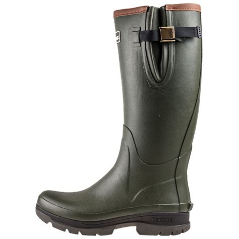 barbour tempest mens wellington boots in olive