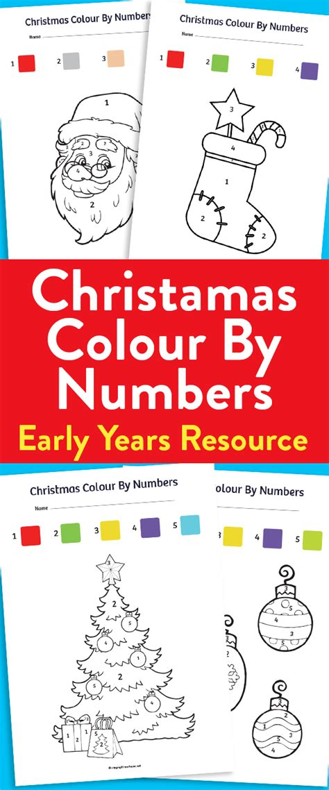 printable numbers early years christmas colour by numbers sheets for early years