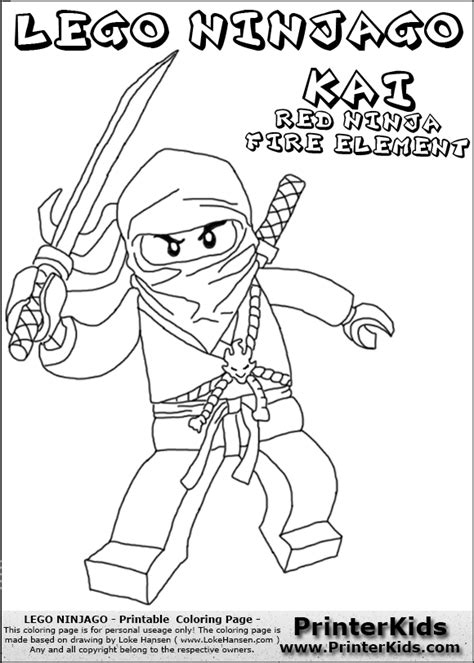 lego ninjago red ninja coloring pages lego ninjago kai with sword coloring page crafty kids