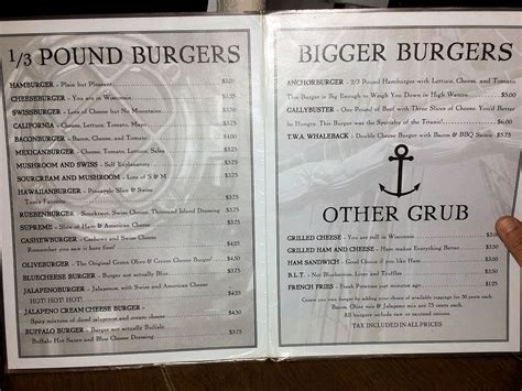 Top Bar Burger Menu by Best Burgers Duluth Grill Duluth Mn