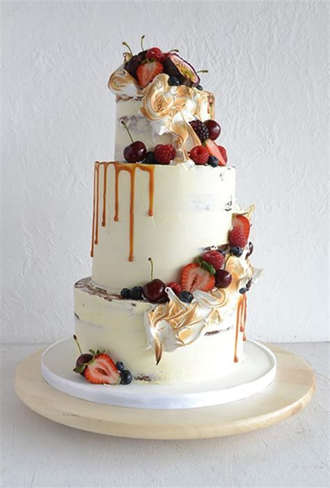 White Wedding Cake with Caramel and Fall Fruits   Brides