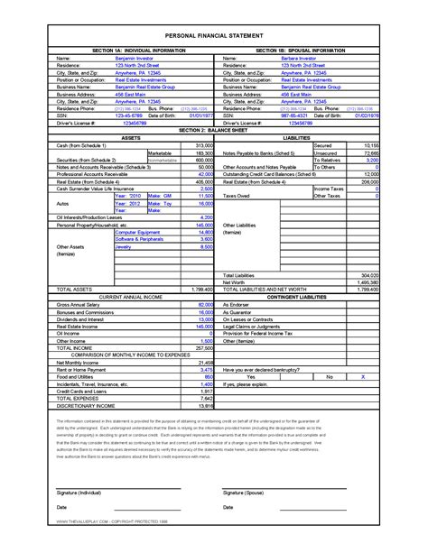 Financial Excel Template by Worksheet Personal Financial Statement Worksheet