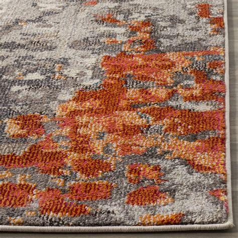 Grey And Orange Area Rug Orange Grey Watercolor Area Rug Monaco Rugs By Safavieh