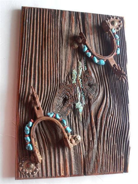 vintage cowboy spur  turquoise western wall
