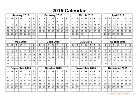printable calendar horizontal 2015 free printable yearly calendar 2015 2017 printable calendar