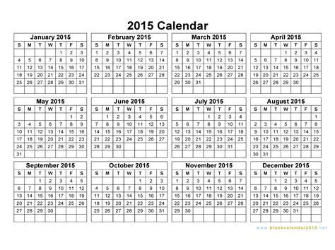 Online Calendar Template 2015 Free Printable Yearly Calendar 2015