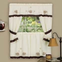 Kitchen Curtain Sets Coffee Cup Of Joe Window Kitchen Curtain Set W 24 Quot Tiers Curtains