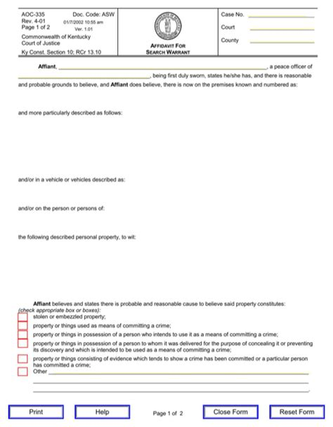 Affidavit For Search Warrant Exle Kentucky Affidavit Form For Free Formtemplate