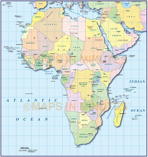 digital vector africa map with drop shadow in ai