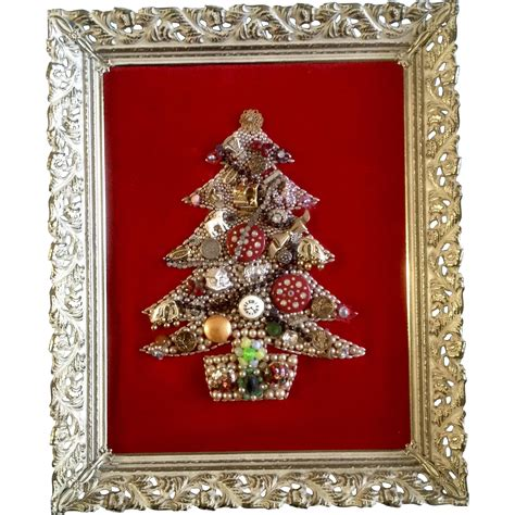 costume jewelry christmas tree framed picture vintage red