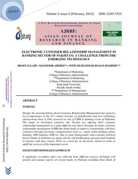 customer relationship management in banks electronic customer relationship pdf available