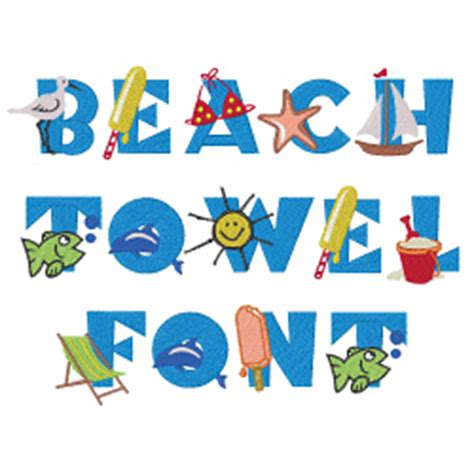 printable beach fonts beach towel font embroidery font annthegran