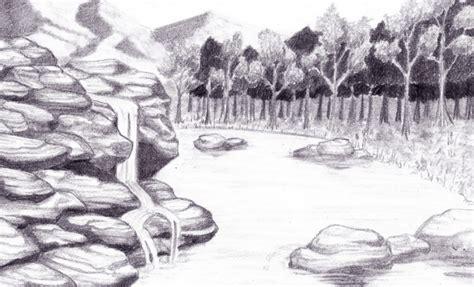 gambar sketsa pemandangan alam pantai gunung desa